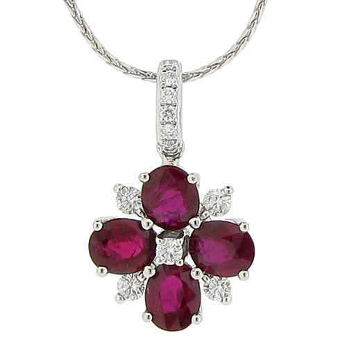 Neckwear - Ruby and diamond cluster pendant and chain in 18ct white gold  - PA Jewellery