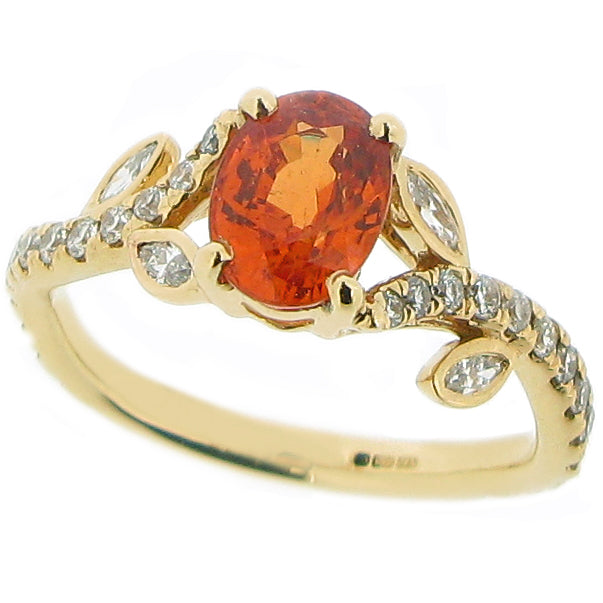 Spessartite garnet and diamond ring in 18ct gold