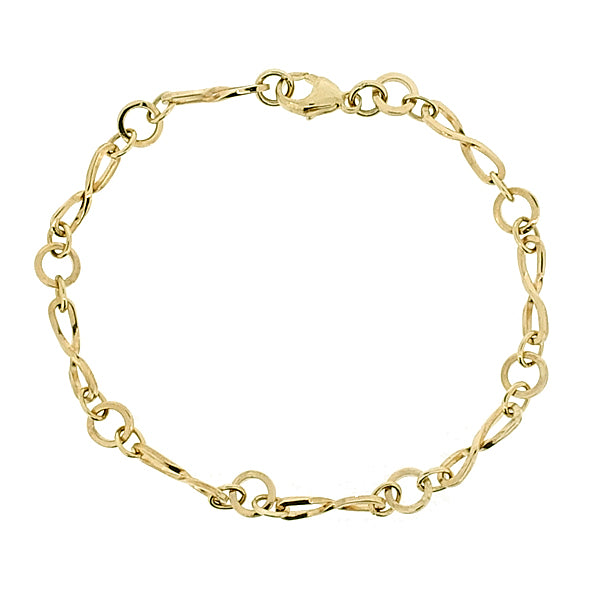 Figure of eight link bracelet in 9ct yellow gold