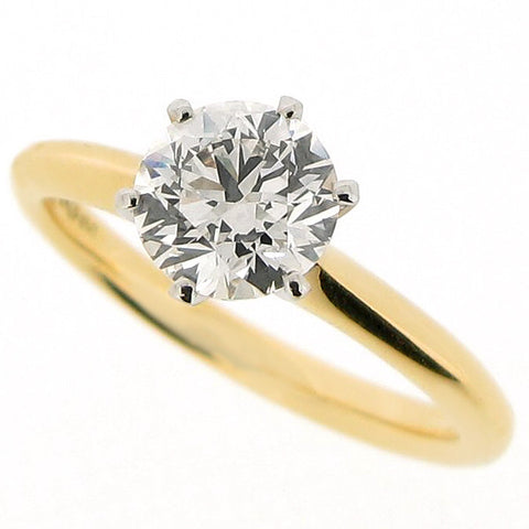 Rings - Brilliant cut diamond solitaire in 18ct yellow gold and platinum, 1.20ct  - PA Jewellery