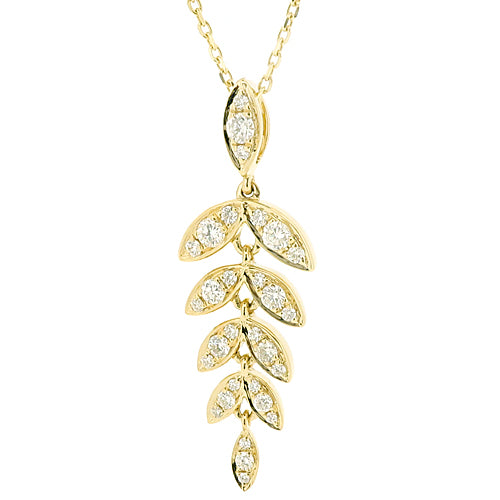 Diamond 'barleycorn' pendant and chain in 18ct gold, 0.42ct