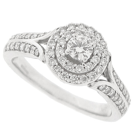 Diamond cluster ring in 9ct white gold, 0.50ct
