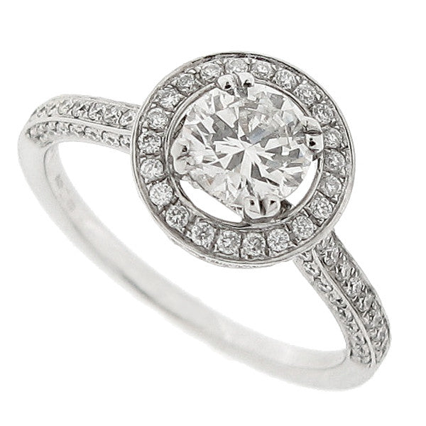 Diamond halo cluster ring in 18ct white gold, 1.16ct