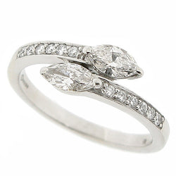 Marquise and brilliant cut diamond ring in platinum, 0.61ct total.