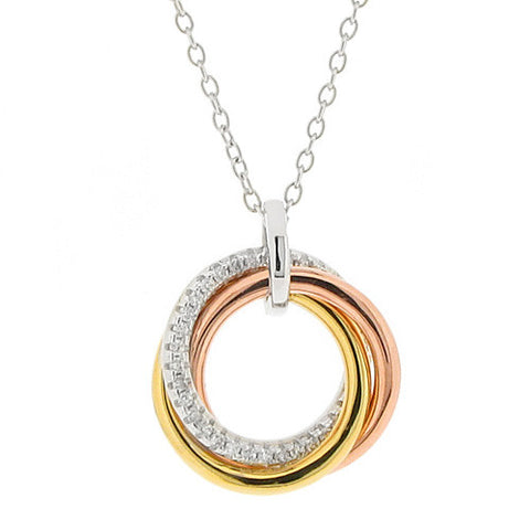 Neckwear - Cubic zirconia circle pendant and chain in silver with rose and yellow gold plating  - PA Jewellery