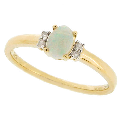 Rings - Opal and diamond dress ring in 9ct yellow gold  - PA Jewellery