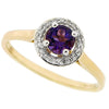 Amethyst and diamond halo cluster ring in 9ct yellow gold