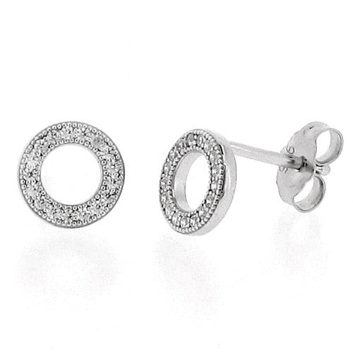 Earrings - Cubic zirconia circle stud earrings in silver  - PA Jewellery