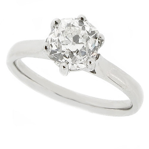 Rings - Old cut diamond solitaire ring in platinum, 1.39ct  - PA Jewellery