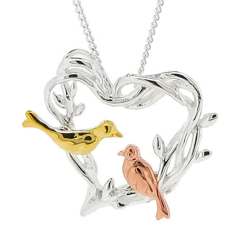 Neckwear - Birds on a heart pendant and chain in silver  - PA Jewellery