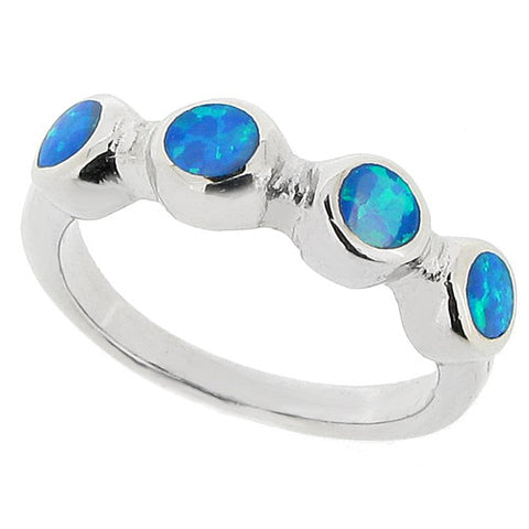 Rings - Blue simulated opal four stone ring in silver  - PA Jewellery