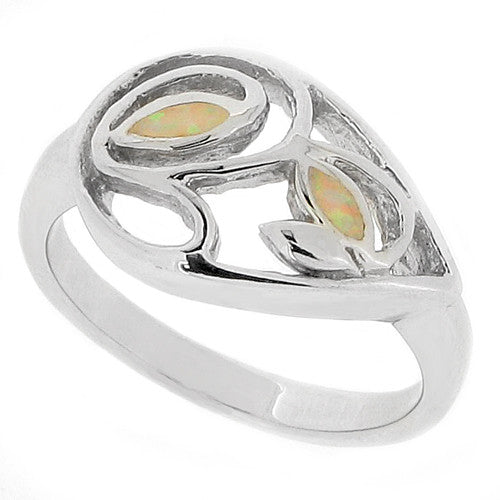 Rings - Simulated opal openwork ring in silver  - PA Jewellery