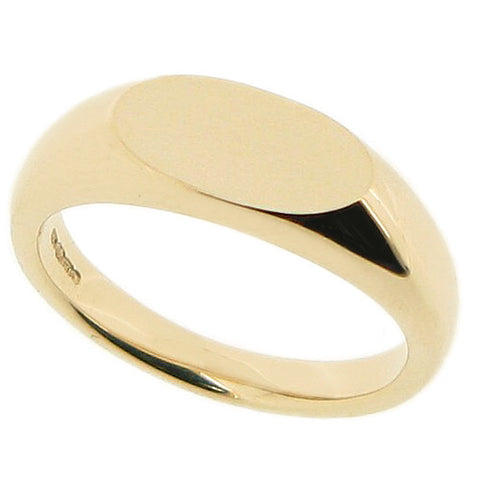 Elongated oval unisex signet ring in 9ct gold