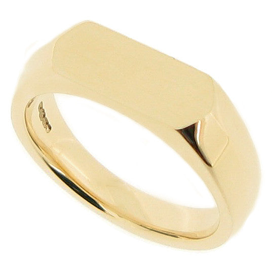 Elongated hexagon unisex signet ring in 9ct gold
