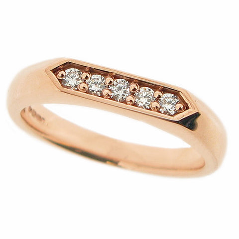 Diamond set hexagonal unisex signet ring in 9ct rose gold