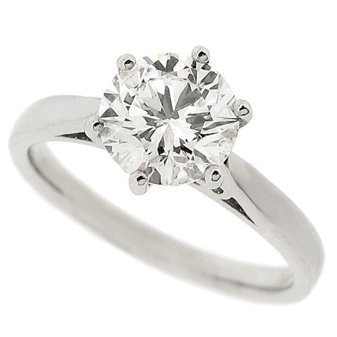Brilliant cut diamond solitaire ring in platinum, 1.74ct