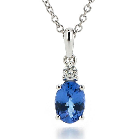 Tanzanite and diamond pendant and chain in 18ct white gold