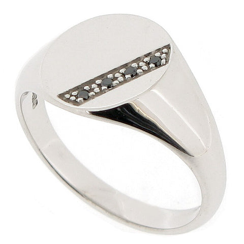 Black diamond mens oval signet ring in 9ct white gold