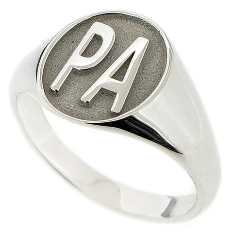Engraved initials mens oval signet ring in silver