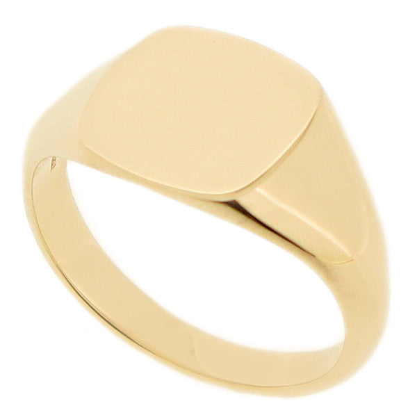 Cushion shape mens signet ring in 9ct yellow gold