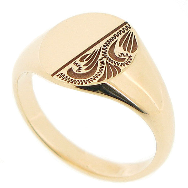 Partially engraved mens oval signet ring in 9ct yellow gold