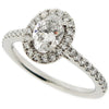 Oval diamond halo cluster ring in platinum, 1.10ct