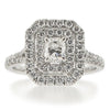 Phoenix Cut diamond double halo cluster ring in platinum, 1.12ct