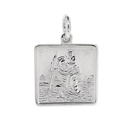 Square St Christopher pendant in silver