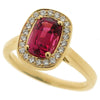 Pink spinel and diamond halo cluster ring in 18ct gold