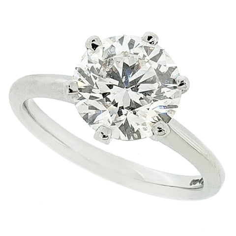 Brilliant cut diamond solitaire ring in platinum, 2.51ct