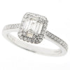 Rectangular diamond cluster ring in platinum, 0.35ct