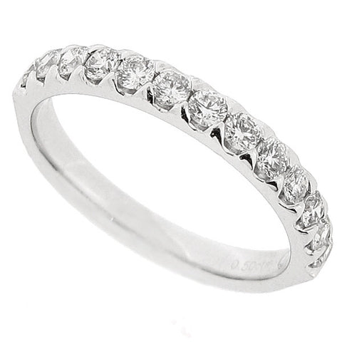 Brilliant cut diamond half eternity ring in platinum, 0.50ct