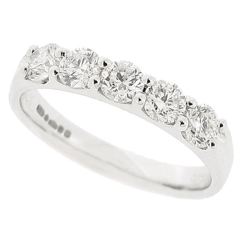 Brilliant cut diamond five stone ring in platinum, 0.75ct