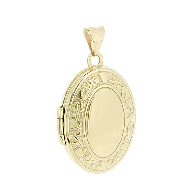 Patterned edge oval locket in 9ct yellow gold