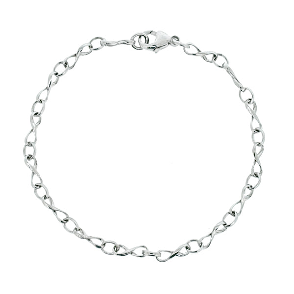Figure of eight link bracelet in 9ct white gold