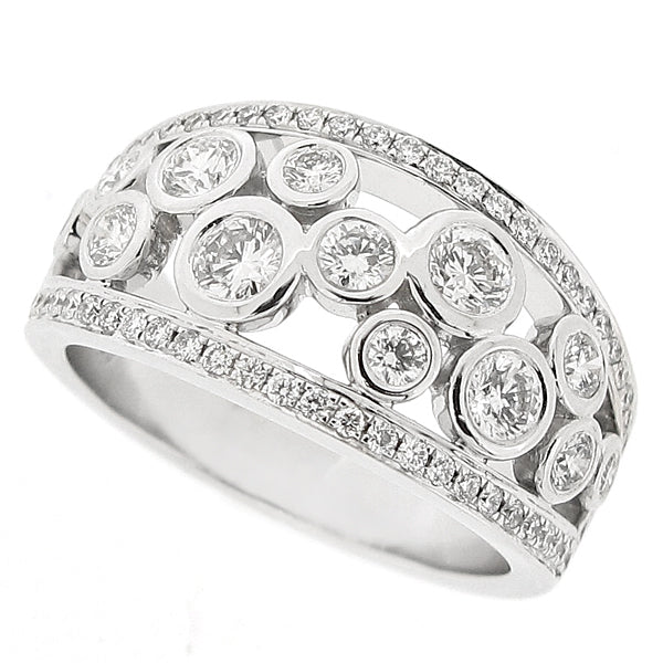 Diamond set 'bubble' cluster ring in 18ct white gold, 1.09ct