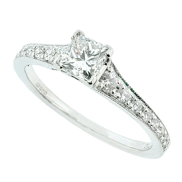 Princess cut diamond solitaire with diamond set shoulders in 18ct white gold, 0.72ct
