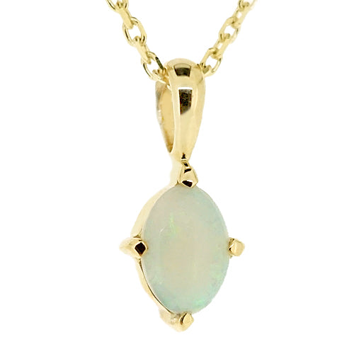Oval opal solitaire pendant and chain in 9ct gold