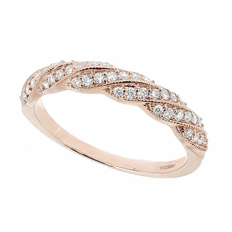 Diamond set twisted band ring in 9ct rose gold, 0.25ct