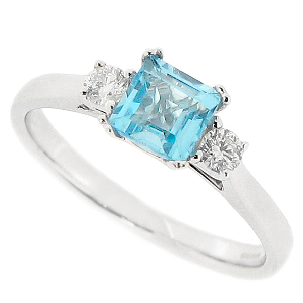 Blue topaz and diamond three stone ring in 9ct white gold