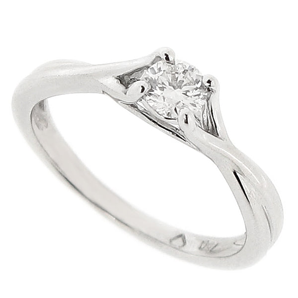 Brilliant cut diamond solitaire ring with crossover shoulders in 18ct white gold, 0.25ct