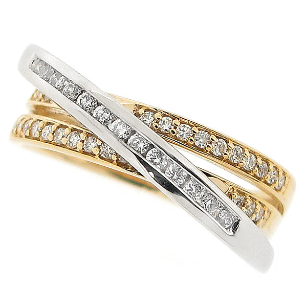 Triple band diamond ring in 9ct yellow and white gold, 0.26ct
