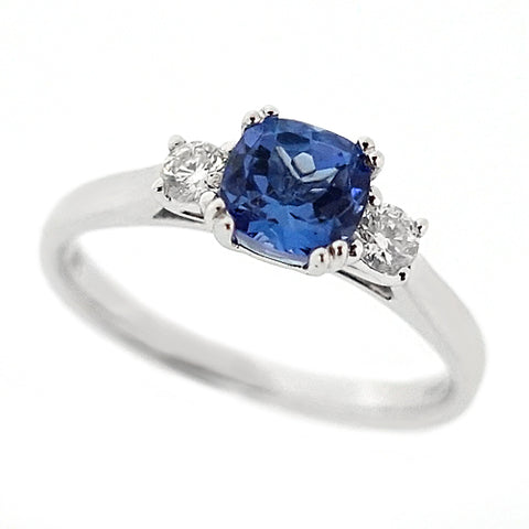 Tanzanite and diamond three stone ring in 9ct white gold