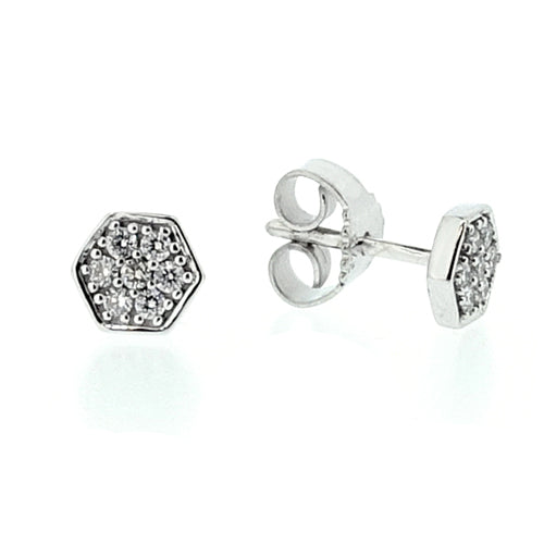 Hexagonal diamond cluster earrings in 9ct white gold, 0.14ct