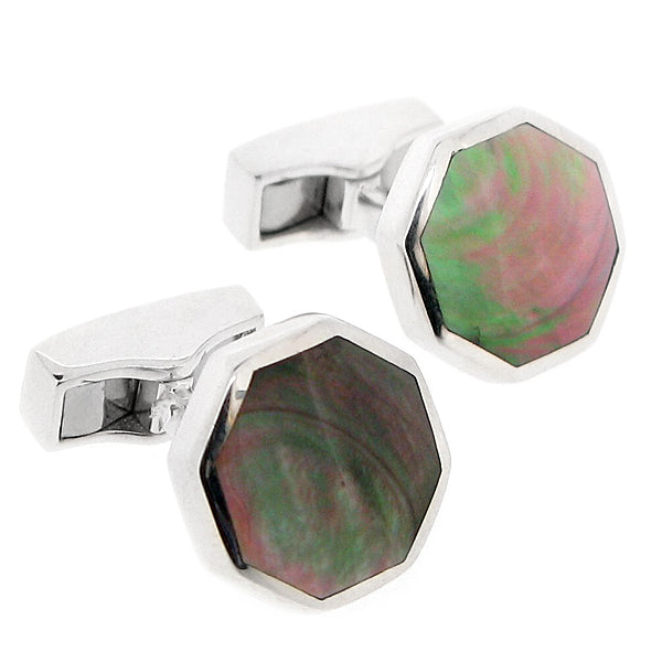 Blacklip shell octagonal cufflinks in silver