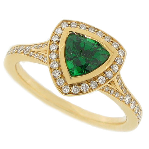 Tsavorite garnet and diamond halo cluster ring in 18ct gold