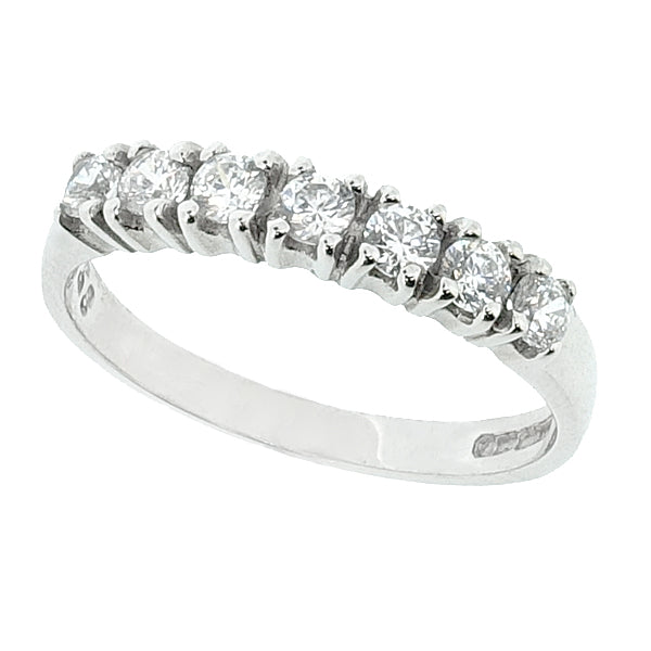 Cubic zirconia seven stone band ring in 9ct white gold
