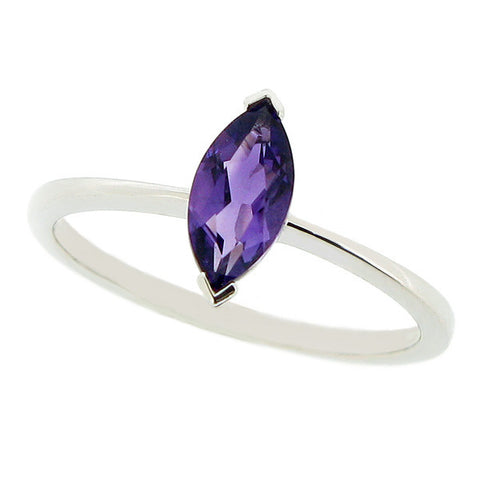 Ring - Amethyst solitaire ring in 9ct white gold  - PA Jewellery