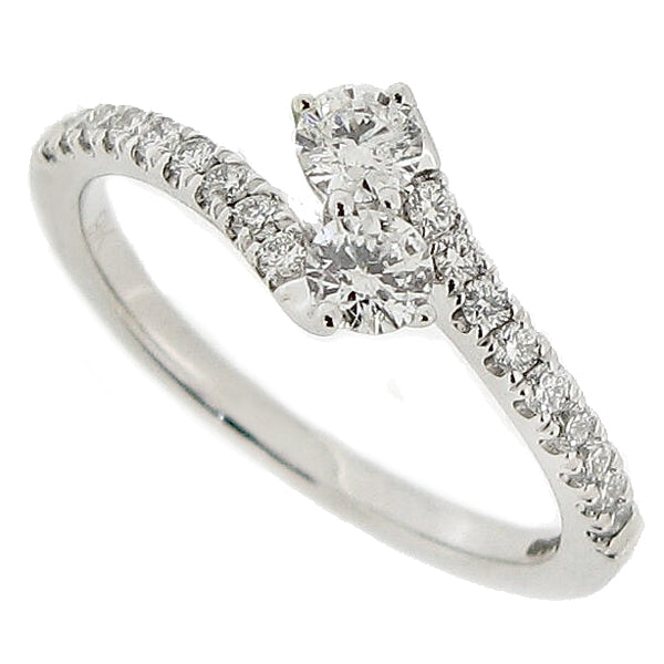 Diamond two stone twist ring with diamond set shoulders in 9ct white gold, 0.50ct