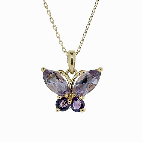 Amethyst butterfly pendant and chain in 9ct yellow gold